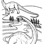 Brachiosaurus, Brachiosaurus Is Swimming Coloring Page: Brachiosaurus is Swimming Coloring Page
