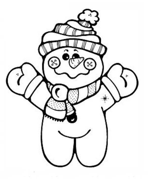 Mr Snowman On Christmas Touching A Snowflake Coloring Page: Chibi Snowman Coloring Page : Color Luna