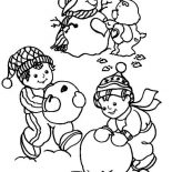 Snowman, Children Making A Snowman Coloring Page: Children Making a Snowman Coloring Page