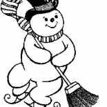 Snowman, Christmas Snowman Moping The Street Coloring Page: Christmas Snowman Moping the Street Coloring Page