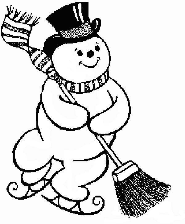 Snowman, : Christmas Snowman Moping the Street Coloring Page