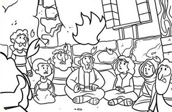 Pentecost, : Commerating the Descent of Holy Spirit in Pentecost Coloring Page