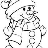 Snowman, Cute Snowman Coloring Page: Cute Snowman Coloring Page