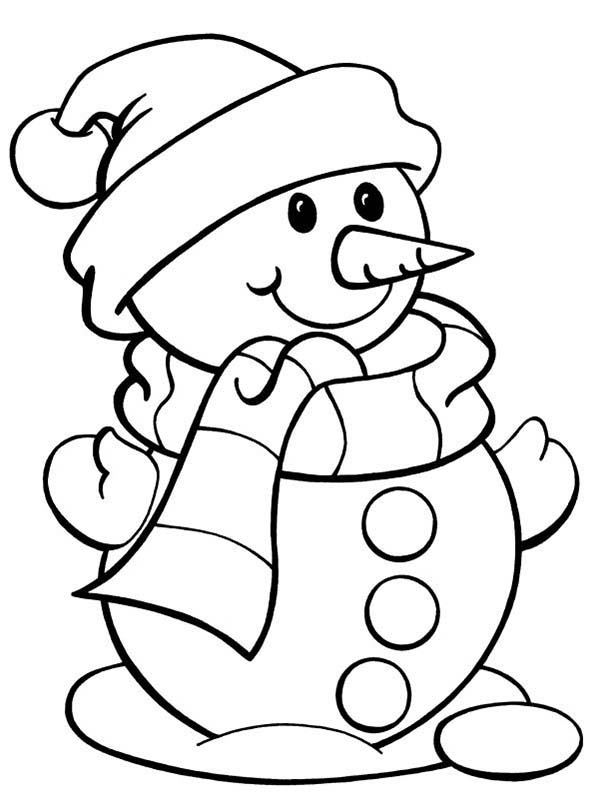 Snowman, : Cute Snowman Coloring Page