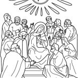 Pentecost, Depiction Of Pentecost Coloring Page: Depiction of Pentecost Coloring Page