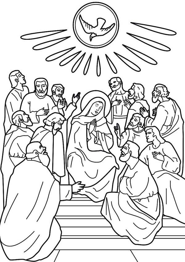 Pentecost, : Depiction of Pentecost Coloring Page