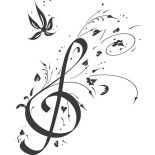 Treble Clef, Floral Note Treble Clef Coloring Page: Floral Note Treble Clef Coloring Page