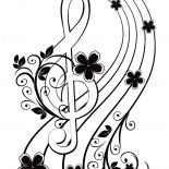 Treble Clef, Musical Background With A Treble Clef And A Flower Pattern Coloring Page: Musical background with a treble clef and a flower pattern