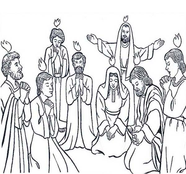 Pentecost, : Followers of Jesus Celebrate Pentecost Coloring Page
