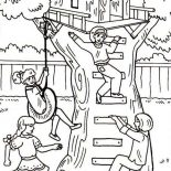 Treehouse, Four Girl Having Fun With Their Treehouse Coloring Page: Four Girl Having Fun with Their Treehouse Coloring Page