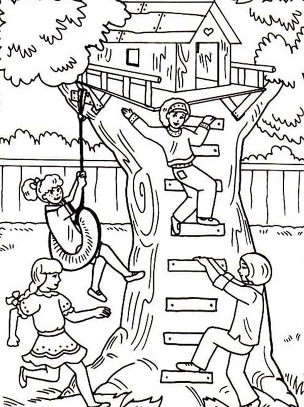 Treehouse, : Four Girl Having Fun with Their Treehouse Coloring Page