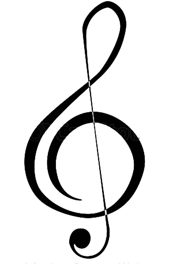 Treble Clef, : How to Draw a Treble Clef Coloring Page