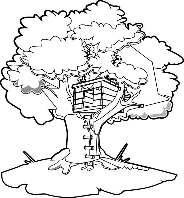 Treehouse, : How to Draw a Treehouse Coloring Page
