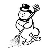 Snowman, Ice Skating Snowman While Cleaning The Street Coloring Page: Ice Skating Snowman while Cleaning the Street Coloring Page