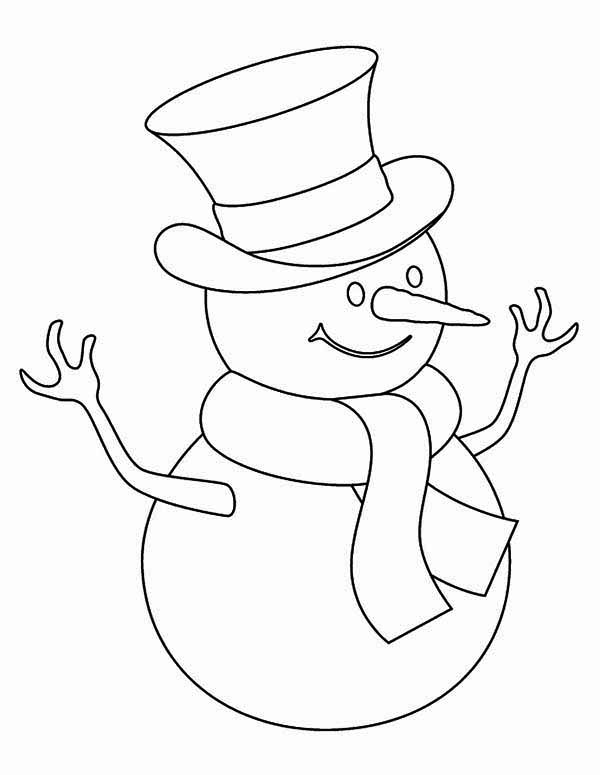 Snowman, : Kids Drawing of Snowman Coloring Page
