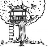 Treehouse, Kids Drawing Of A Treehouse Coloring Page: Kids Drawing of a Treehouse Coloring Page