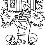 Treehouse, Kids Playing Hide And Seek At Treehouse Coloring Page: Kids Playing Hide and Seek at Treehouse Coloring Page
