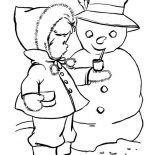 Snowman, Little Kid Give Snowman Smoking Pipe Coloring Page: Little Kid Give Snowman Smoking Pipe Coloring Page