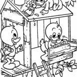 Treehouse, Louie And Huey And Dewey Build A Treehouse Coloring Page: Louie and Huey and Dewey Build a Treehouse Coloring Page