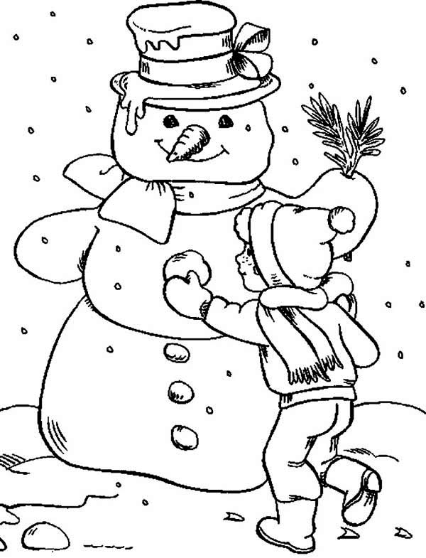 Snowman, : Making Snowman Coloring Page
