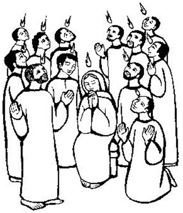 Pentecost, : Maria and the Apostles of Jesus Praying in Pentecost Coloring Page