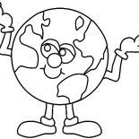 Earth Day, Mr Earth Day Is Always Optimistic About The World Coloring Page: Mr Earth Day is Always Optimistic About the World Coloring Page