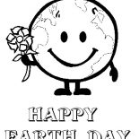 Earth Day, Mr Earth Say Happy Earth Day To All Coloring Page: Mr Earth Say Happy Earth Day to All Coloring Page