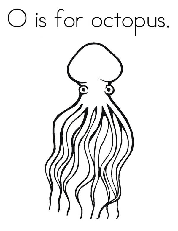 Octopus, : O is for Octopus Coloring Page