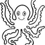 Octopus, Octopus Eight Handed Coloring Page: Octopus Eight Handed Coloring Page