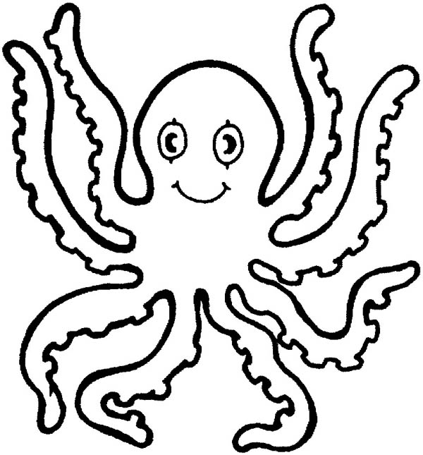 Octopus, : Octopus Eight Handed Coloring Page