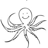 Octopus, Octopus Is Smiling Coloring Page: Octopus is Smiling Coloring Page