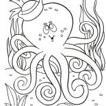 Octopus, Octopus With Sailor Hat Coloring Page: Octopus with Sailor Hat Coloring Page