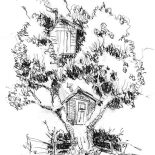 Treehouse, One Tree Two Treehouse Coloring Page: One Tree Two Treehouse Coloring Page
