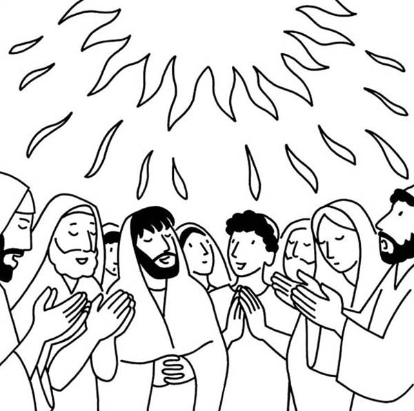 Pentecost, : Pentecost Commemorates God giving the Ten Commandments at Mount Sinai Coloring Page