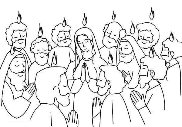 Pentecost, : Pentecost Praise Jesus and Holy Spirit Coloring Page