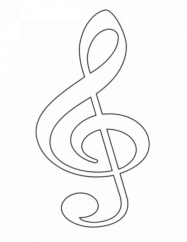 Treble Clef, : Picture of Treble Clef Coloring Page