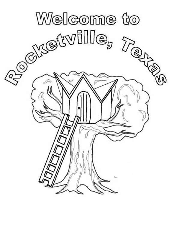 Treehouse, : Rocketville Treehouse Coloring Page