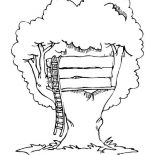 Treehouse, Simple Treehouse Coloring Page: Simple Treehouse Coloring Page