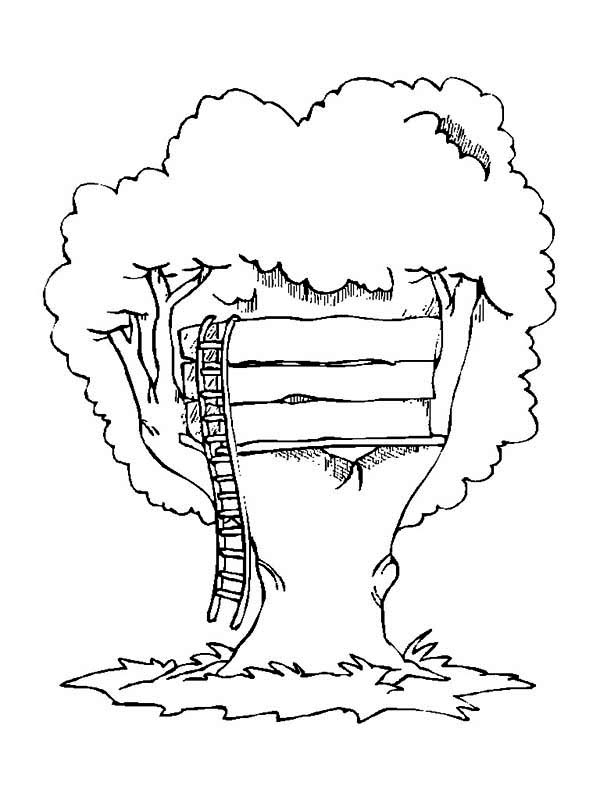 Treehouse, : Simple Treehouse Coloring Page