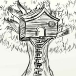Treehouse, Sketch Of Treehouse Coloring Page: Sketch of Treehouse Coloring Page