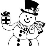 Snowman, Snowman Bring You Present Coloring Page: Snowman Bring You Present Coloring Page