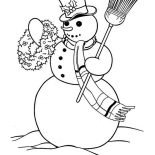 Snowman, Snowman Carrying Flower Arrangement Coloring Page: Snowman Carrying Flower Arrangement Coloring Page