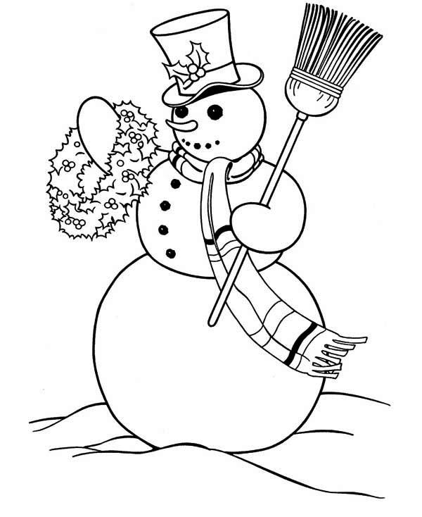 Snowman, : Snowman Carrying Flower Arrangement Coloring Page