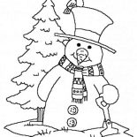 Snowman, Snowman Carrying Shovel Coloring Page: Snowman Carrying Shovel Coloring Page
