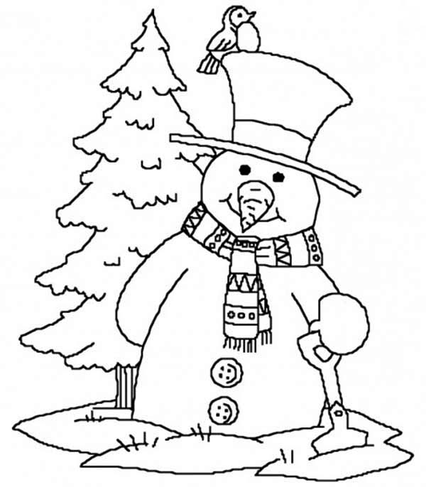 Snowman, : Snowman Carrying Shovel Coloring Page