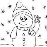 Snowman, Snowman Christmas Touch Snowflake Coloring Page: Snowman Christmas Touch Snowflake Coloring Page
