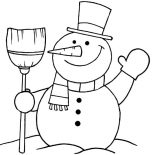 Snowman, Snowman Greeting Coloring Page: Snowman Greeting Coloring Page
