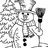 Snowman, Snowman Holding Broomstick With Bird Coloring Page: Snowman Holding Broomstick with Bird Coloring Page