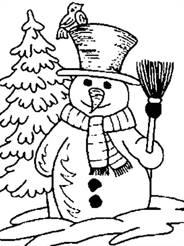 Snowman, : Snowman Holding Broomstick with Bird Coloring Page