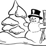 Snowman, Snowman Making Snow Mountain Coloring Page: Snowman Making Snow Mountain Coloring Page